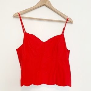 Anthropologie | Maeve Tomato Red Back Button Crop